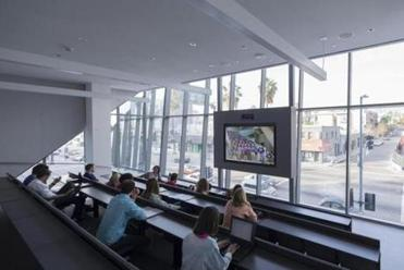 Emerson Los Angeles film and TV students in the Vin DiBona Distance Learning Room get a broad view of the street.